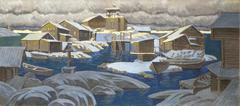 illustration of a village in Russia - stock illustration