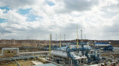 Power facility with pipe and tube for chemical operation Stock Footage