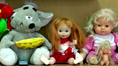 Children's toys for the baby in nursery. Stock Footage