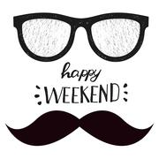 Happy weekend. Positive handwritten design cards, t-shirt, posters, social media - stock illustration