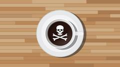 poison poisonous coffee illustration with skull sign - stock illustration