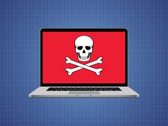 Computer hacked with skull symbol and danger alert Stock Illustration