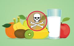 poison poisonous fruit with skull symbol - stock illustration