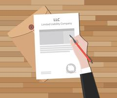 Llc limited liability company with document and sign paper Stock Illustration