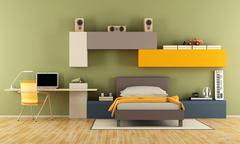 Modern teenage boy bedroom Stock Illustration