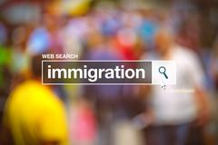 Immigration in internet browswer search box Stock Photos