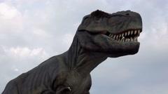 T-rex, Tyrannosaurus rex animatronic model in entertainment dino park Stock Footage