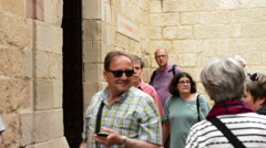 Entrance to the Picasso museum in Malaga, Spain, with tourists and visitors Stock Footage