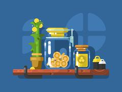 Savings and glass jar with coins - stock illustration