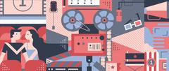 Cinema concept design flat - stock illustration