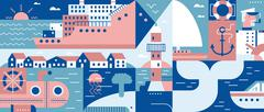 Sea lifestyle port and city background - stock illustration