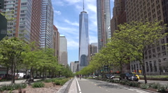 Giper lapse. New world trade center  building in New York city. Memorial Plaza. Stock Footage