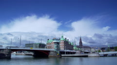 Copenhagen city view with old buildings and river-timelapse Stock Footage