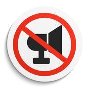Turn Off Sound on White Round Plate - stock illustration