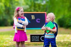 Children happy to be back to school Stock Photos