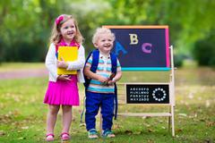 Children happy to be back to school - stock photo
