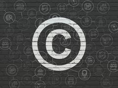 Law concept: Copyright on wall background - stock illustration