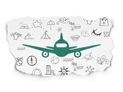 Tourism concept: Aircraft on Torn Paper background - stock illustration