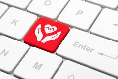 Insurance concept: Heart And Palm on computer keyboard background Stock Illustration