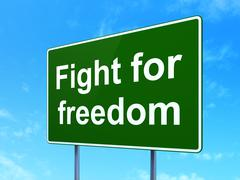 Political concept: Fight For Freedom on road sign background - stock illustration