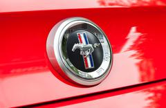 Ford Mustang Sign Close Up - stock photo