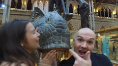 4K Happy family having fun in museum & video recording themselves Stock Footage