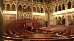 BUDAPEST, HUNGARY: Interior view of Parliament Building. - stock footage