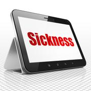 Healthcare concept: Tablet Computer with Sickness on display - stock illustration
