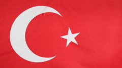 Closeup of textile flag of Turkey Stock Footage