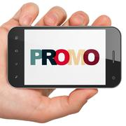 Marketing concept: Hand Holding Smartphone with Promo on  display - stock illustration