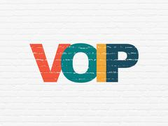 Web development concept: VOIP on wall background - stock illustration