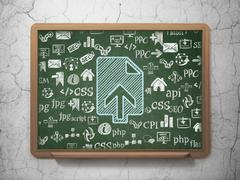 Web development concept: Upload on School board background - stock illustration