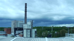 power plant with moving dark clouds-timelapse - stock footage