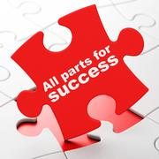 Business concept: All parts for Success on puzzle background - stock illustration