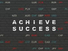 Finance concept: Achieve Success on wall background - stock illustration