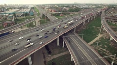 Aerial view of car traffic on highway - stock footage