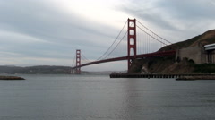 Golden Gate Bridge From Marin Overcast Late Afternoon - stock footage