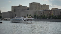 Passenger Ship Sails On The River In Moscow - stock footage