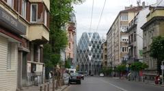 European Parliament agency building in Sofia Bulgaria - glide camera movement Stock Footage