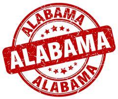 Alabama red grunge round vintage rubber stamp - stock illustration