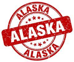 Alaska red grunge round vintage rubber stamp - stock illustration
