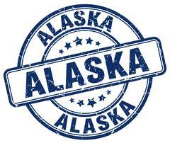 Alaska blue grunge round vintage rubber stamp - stock illustration