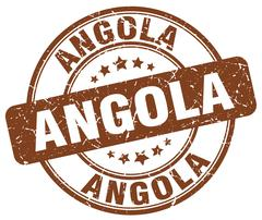 Angola brown grunge round vintage rubber stamp - stock illustration