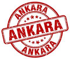 Ankara red grunge round vintage rubber stamp Stock Illustration