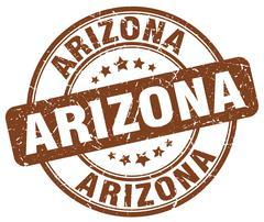 Arizona brown grunge round vintage rubber stamp - stock illustration