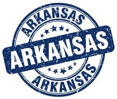 Arkansas blue grunge round vintage rubber stamp - stock illustration