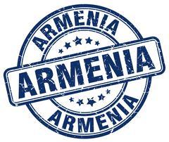 Armenia blue grunge round vintage rubber stamp - stock illustration