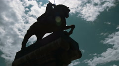 Silhouette Knight monument timelapse, steel, stone, marble, Khan Krum, Military - stock footage