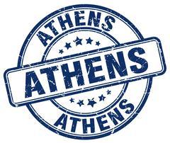 Athens blue grunge round vintage rubber stamp - stock illustration