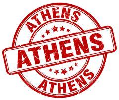 Athens red grunge round vintage rubber stamp - stock illustration